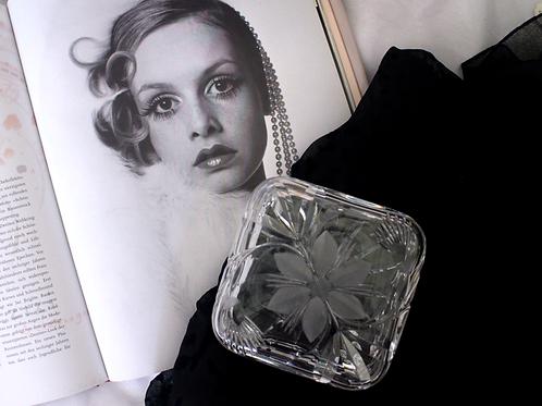 60s Vintage Hand Cut Lead Crystal Glass Jewelery /Trinket Box
