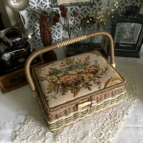 Vintage Floral Tapestry Sewing  Basket