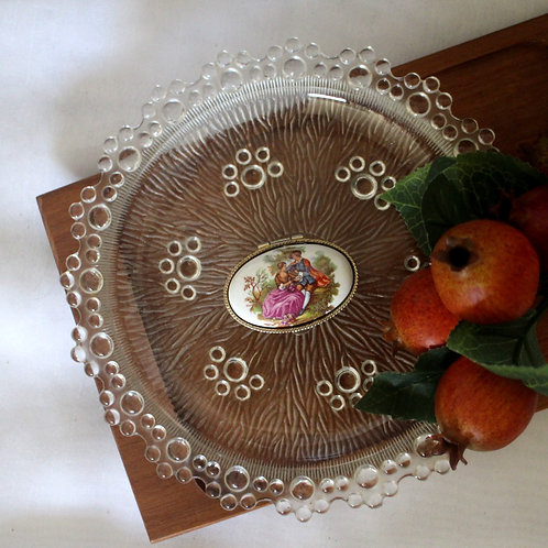 Vintage Fragonard  Porcelain and Metal Oval Pill Box  / Trinket Box