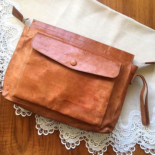 Natural Tan Leather Clutch Bag
