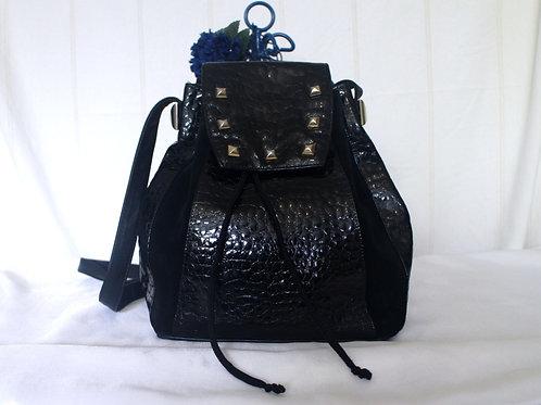 Brunella Italian Smooth and Mock Croc Soft Geniune Leather Drawstring Bucket Bag