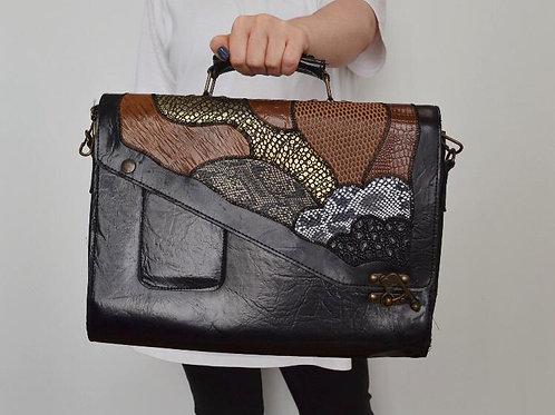 Vintage Sturdy Leather Patchwork Messenger Bag Asymmetrical Lid