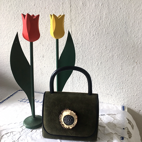Vintage Olive Green Boxy Bag