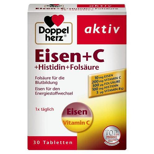 Doppelherz 雙心牌鐵+維他命C+組氨酸+葉酸營養片