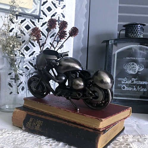 Collectible Black Metal Motorcycle Model