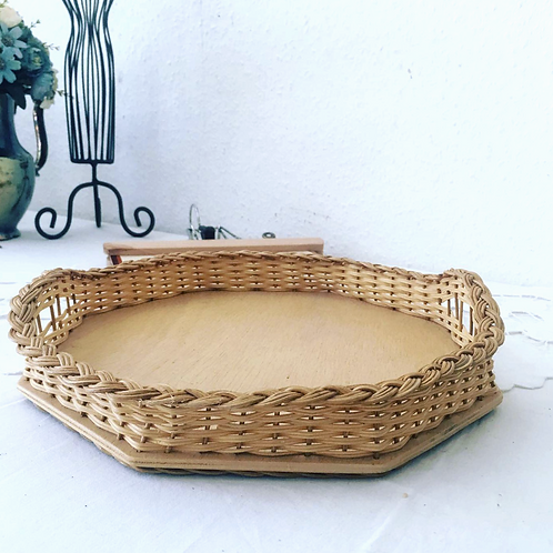 Vintage Octagon Wicker / Wood Serving Tray
