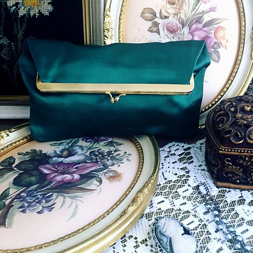 Vintage Deep Emerald Green Satin Foldover Clutch