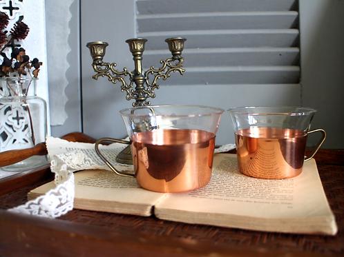 Vintage SCHOTT MAINZ German Tea glasses Copper