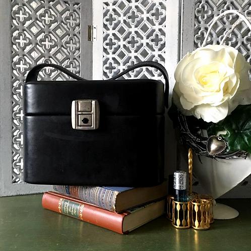 Mid Century Black Cosmetic Case / Jewelry Box