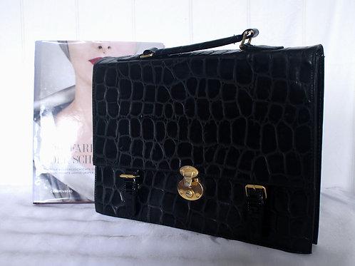 Vintage Sturdy Mock Croc Black Leather Messenger Bag / Documents Case