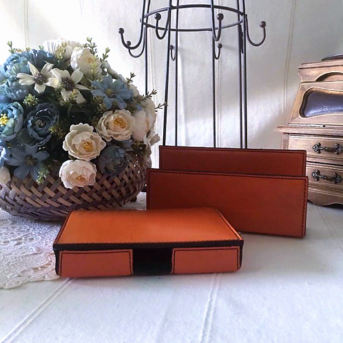 Vintage Leather Note Card Box