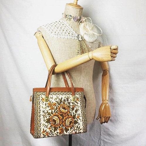 德國古董包 手工刺繡復古花紋手挽包