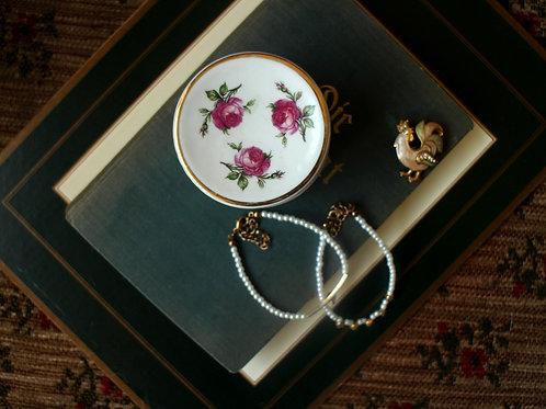 Roses Round Trinket Ceramic Box With Lid