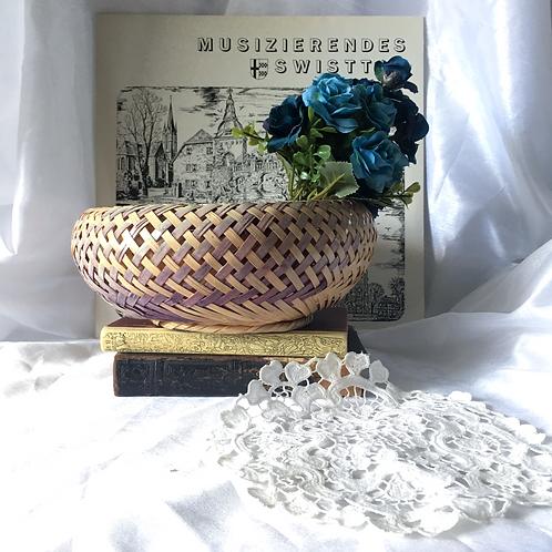 70s Vintage Woven Ash Splint Basket