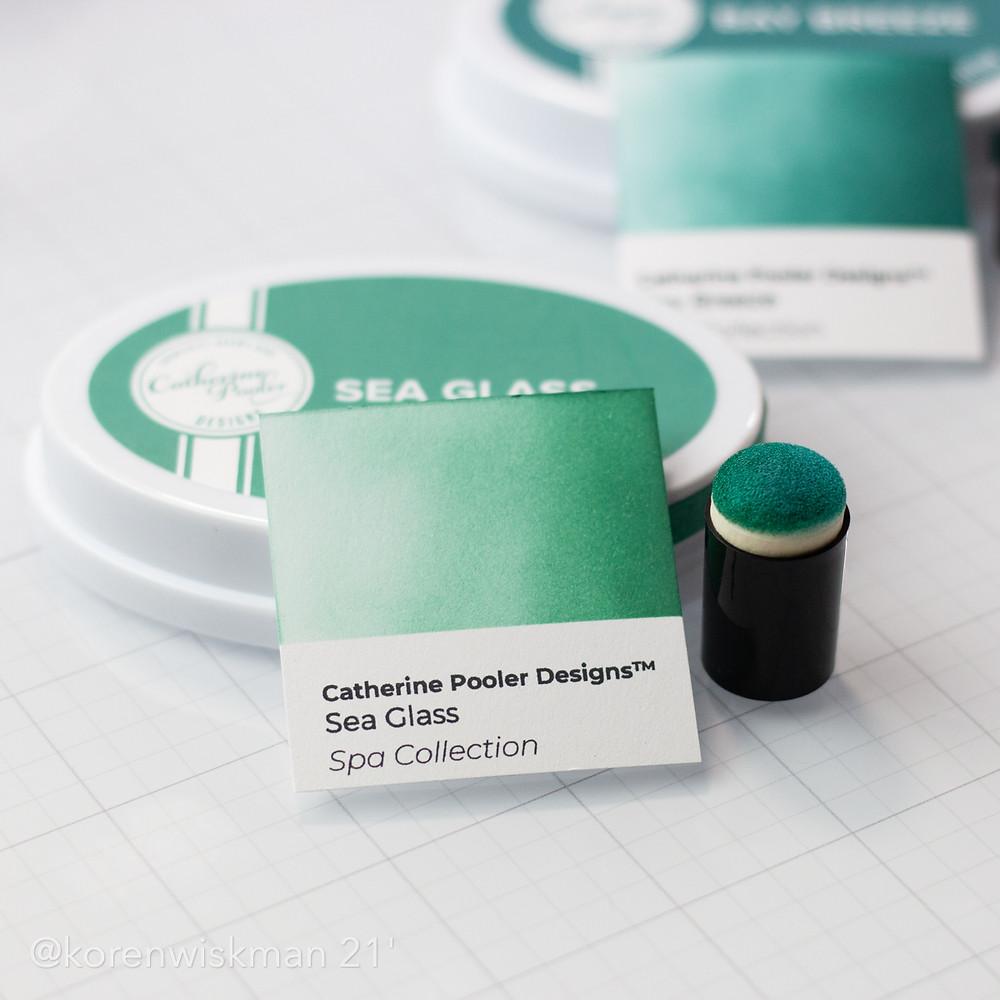 Catherine Pooler Designs, ink, sponge daubers, green font, black, glass mat, Koren Wiskman, sea glass, ink pad, spa collection, new release, beach retreat, bay breeze, blue green