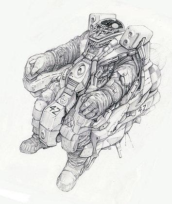 "Alien Astronaut  10.5"" x 12.5"" Graphite on Paper"