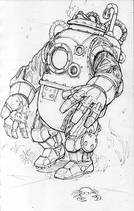 "'Old Diver Exo' Graphite on 5""x8""Archival Bristol"