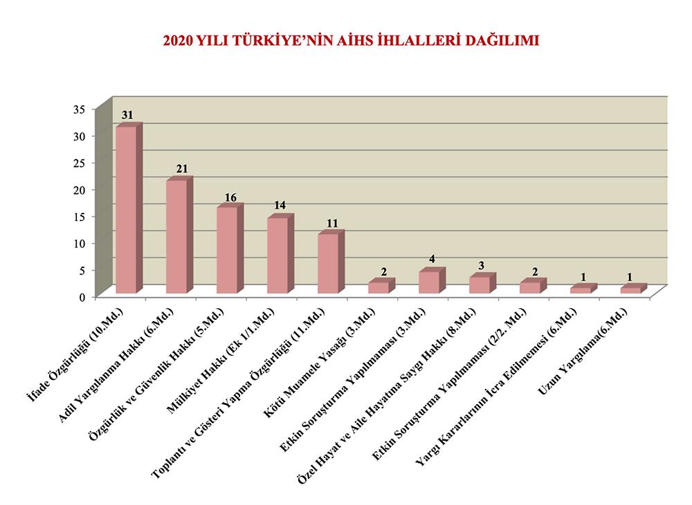 Grafik 2: 2020 yılı Türkiye'nin AİHS ihlalleri dağılımı