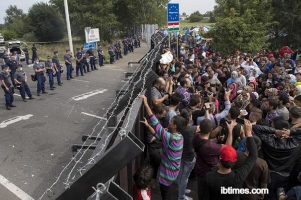 macaristan sınır duvarının bir tarafında güvenlik güçleri diğer tarafında göçmenler
