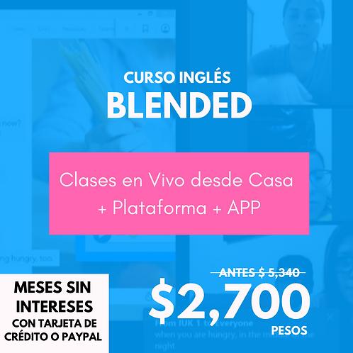 Curso Inglés Blended: Clases en Vivo  + Plataforma y APP (Paquete de 3 meses)