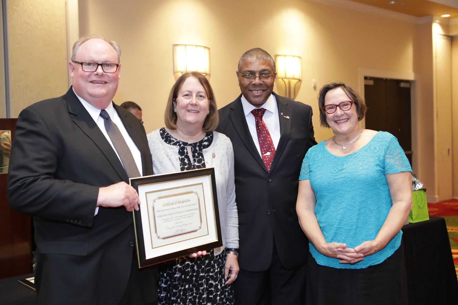 STOP Inc. 2017 Stakeholder's Luncheon Community   Partnership Award Recipient - Virginia Employment