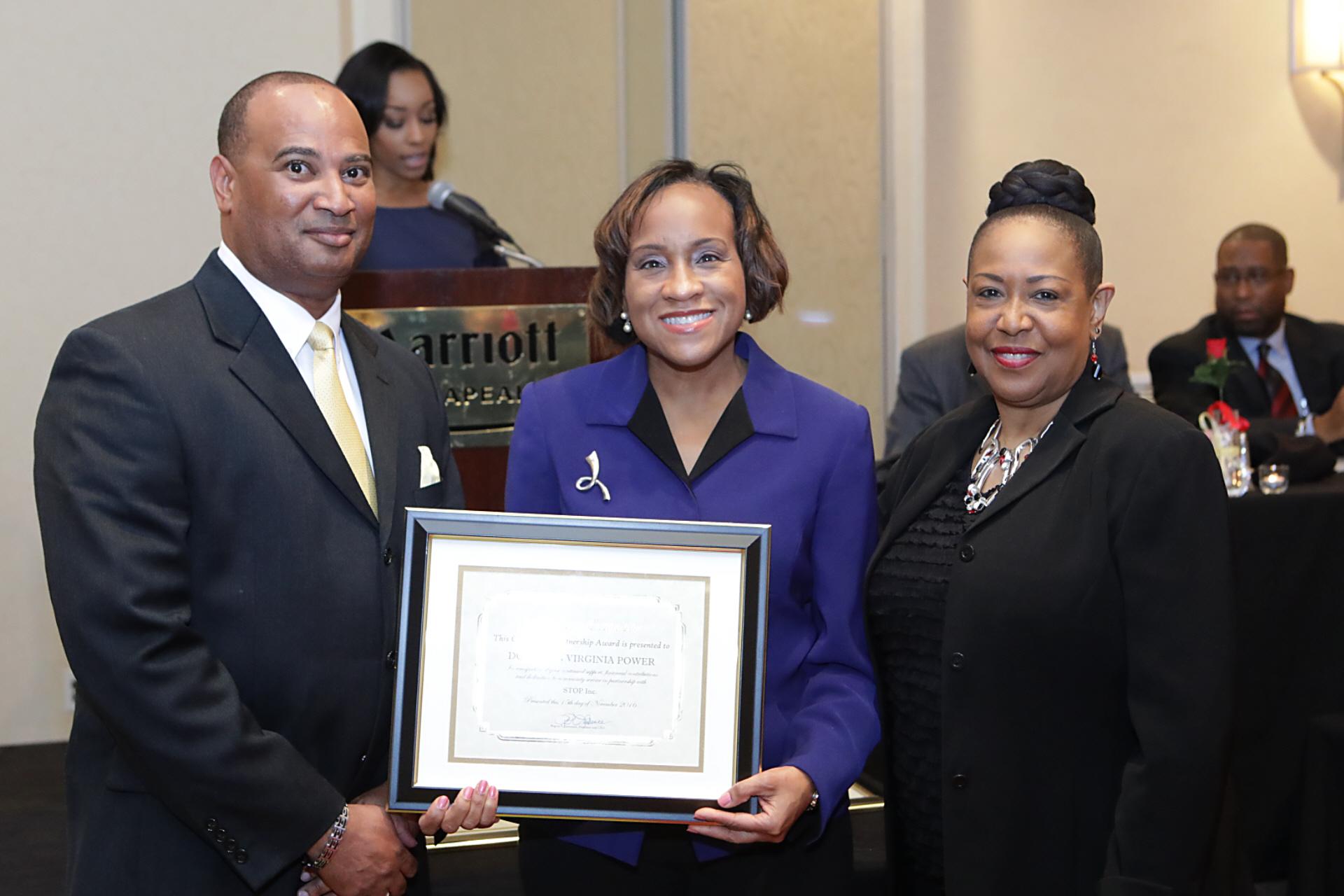 STOP Inc. 2017 Stakeholder's Luncheon Community   Partnership Award Recipient - Dominion Virginia Po