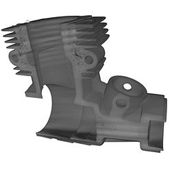 This is a 3-dimensonal image of a small engine casting captured during the CT scan process at Delphi Precision Imaging.