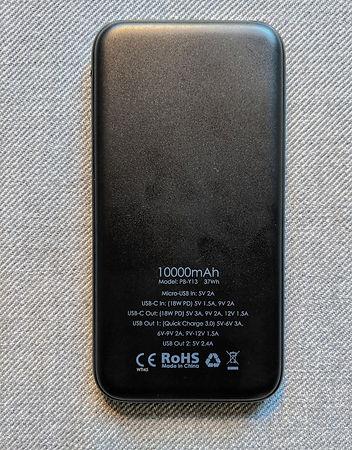 Aukey 10,000mah external battery rear