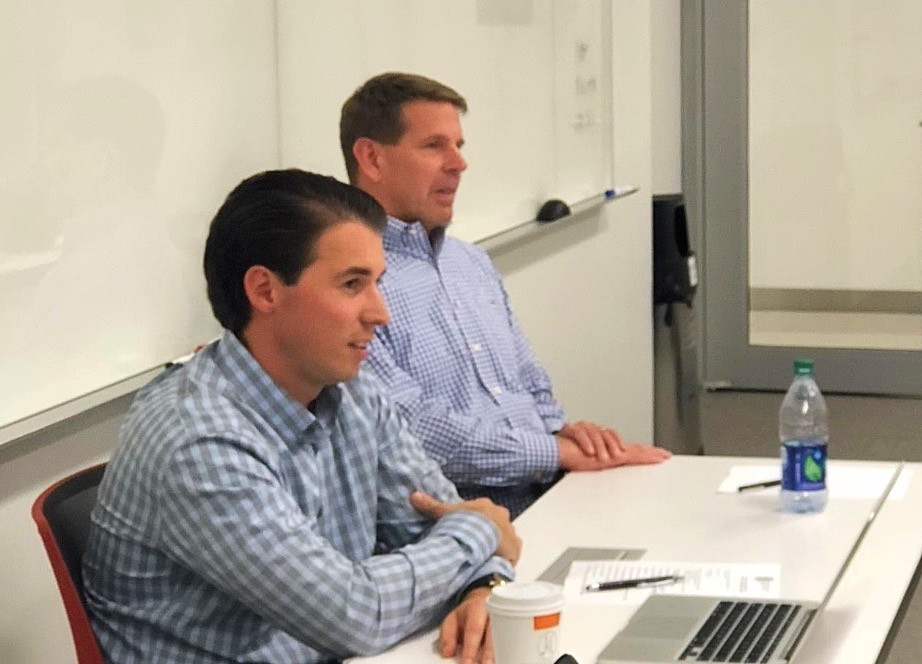 Nate Tower (right), Broad Reach Retail Partners, and John Rosso, Jr., Rosso Commercial, address Georgetown University Real Estate graduate students in October. Photo by Gene Parker.