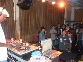 DJ Chips on the decks at The Bird