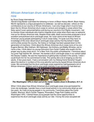 DCI Article African--American Drum Corps