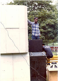 DJ Chips On Top of The Speaker Stack
