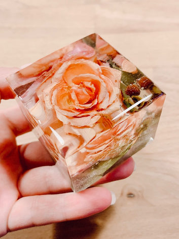 small rose cube - top view