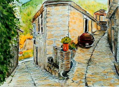 Portuguese Village watercol. pencil