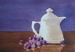 Pot with Grapes