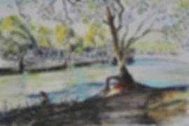 Lake watercolor pencil