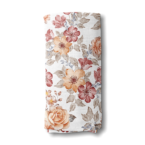 Cotton Muslin Swaddle | Floral Sunset