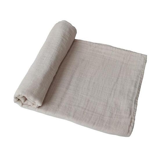 Muslin Swaddle Blanket Organic Cotton | Fog