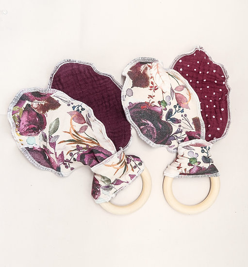Ring Teether | Plum Floral