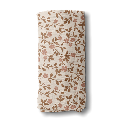 Cotton Muslin Swaddle   Brown Magnolia