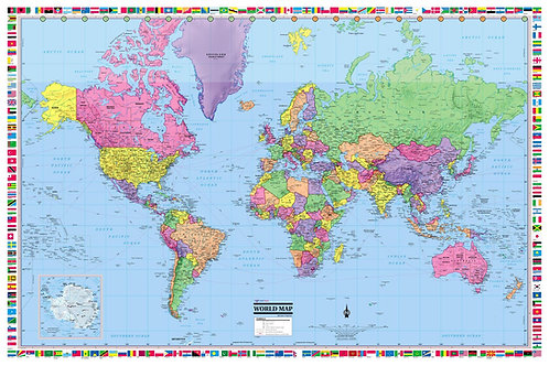 World Wall Map with Country Flags