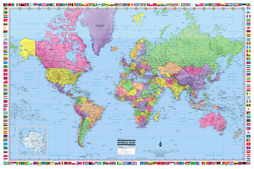 World wall map 36x24 country flags 2017 wall maps posters these current 2017 world colorful wall poster map with all country colorful flags the map shows all country capitals and hundreds of major cities sciox Choice Image