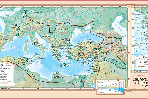 Early Spread of Christianity Wal Map Poster