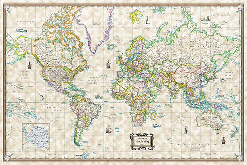 Antique Old World Style Modern Wall Map Poster