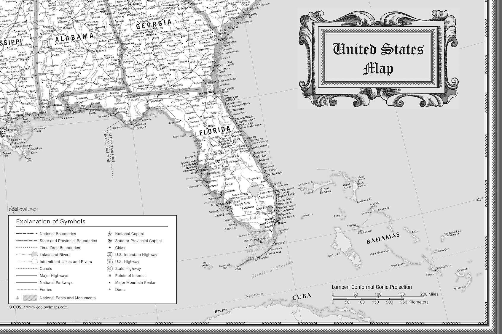 This Classic Black White Style Modern United States Wall Map Rolled Paper 36 X24 Inches Features A Wealth Of Information Including State Boundaries