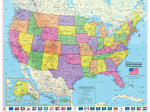 UNITED STATES Wall Map with State Flags