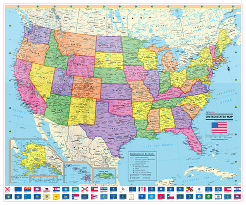 UNITED STATES Wall Map With State Flags - Laminated state wall maps