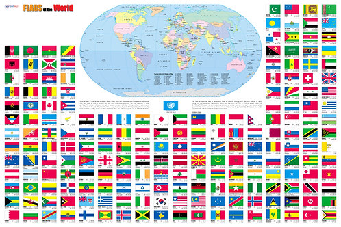 Flags of the World Wall Map Poster