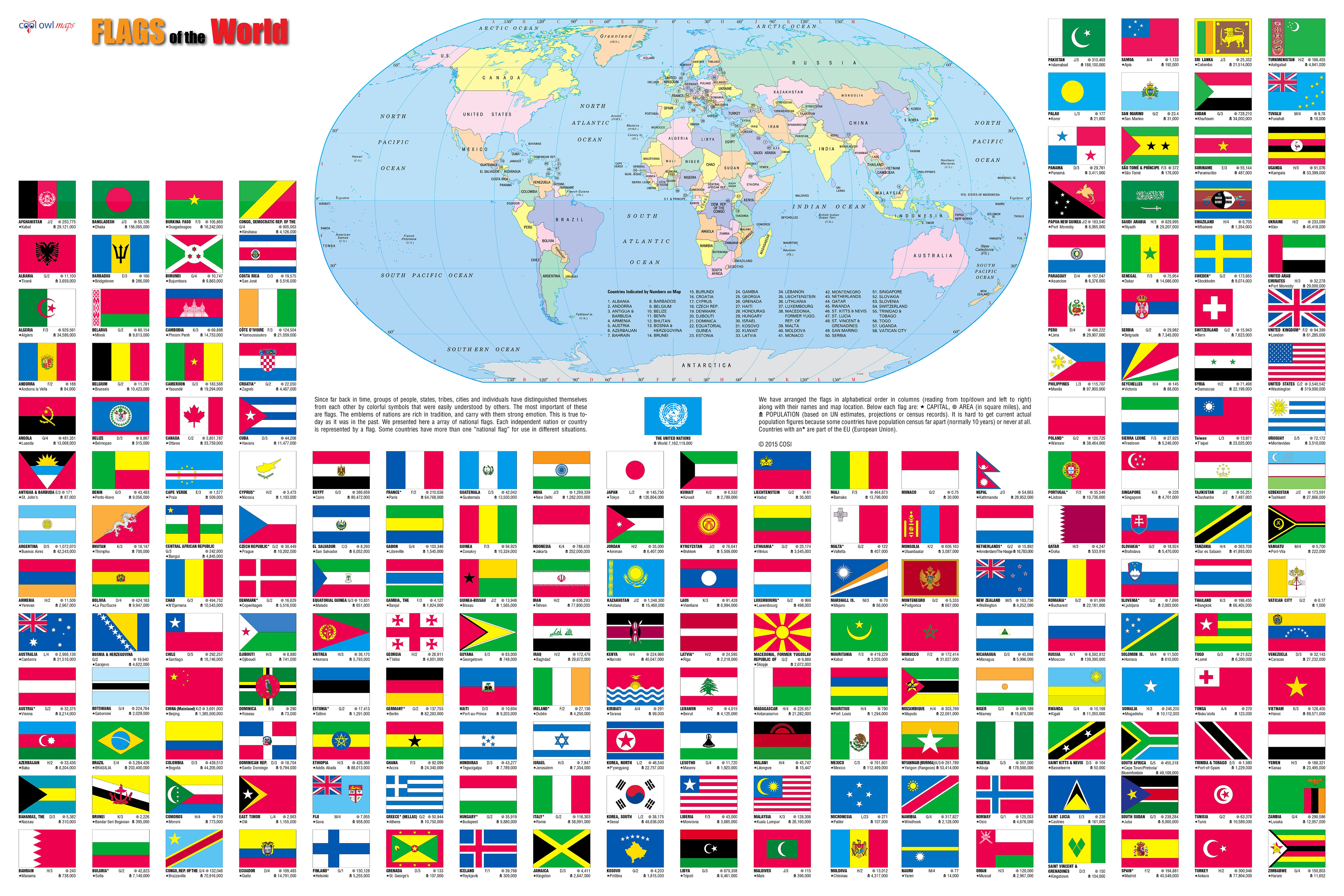 Wall Maps Posters  Cool Owl Maps  Flags of the World Wall Map