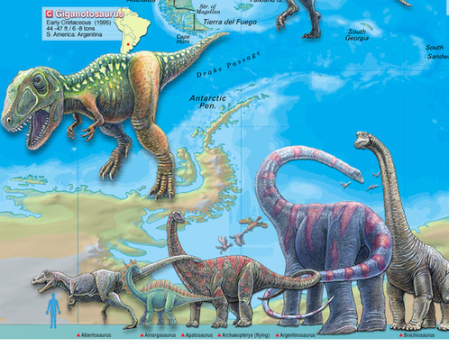 World of the dinosaurs wall map poster 36x24 world of the dinosaurs wall map poster dinosaurs wall map poster gumiabroncs Images